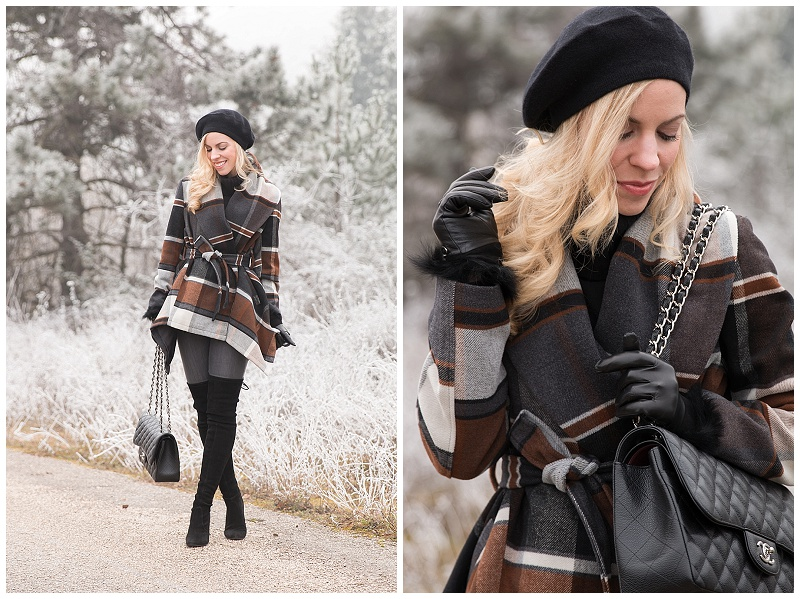 black cashmere beret with plaid coat outfit, how to wear plaid coat, how to wear thigh high boots and look classy, winter outfit with plaid coat and beret