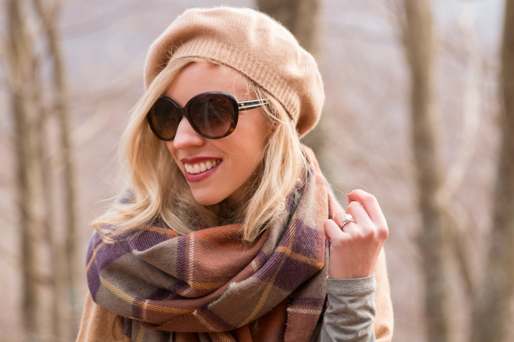 camel cashmere beret, Chanel oversized tortoiseshell sunglasses, TopShop brown plaid blanket scarf, Clinique Broadest Berry