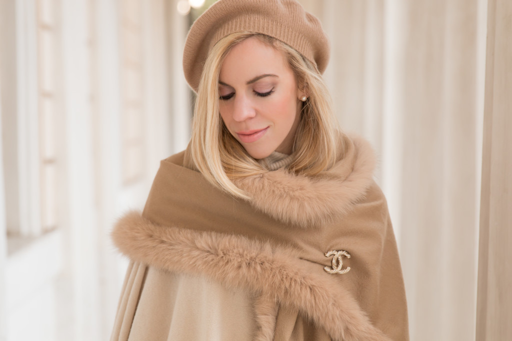 camel cashmere beret, Max Mara camel fox fur fringe trim cashmere wrap, camel scarf outfit, Chanel brooch with wrap scarf, how to wear a brooch pin
