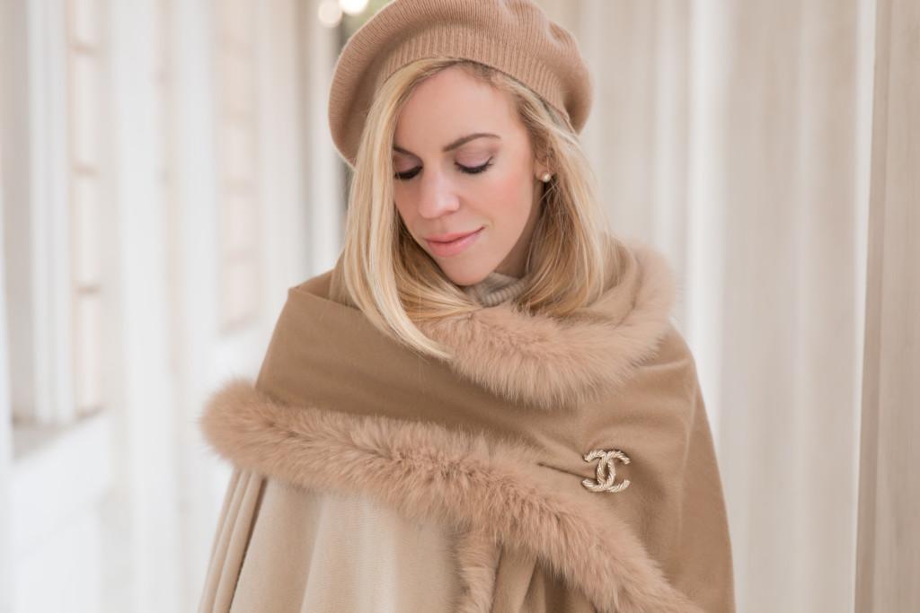 camel cashmere beret, Max Mara camel fox fur fringe trim