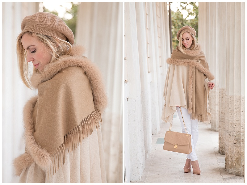 camel cashmere beret, how to wear white jeans in winter, beret hat chic outfit, Max Mara camel fox fur wrap, Louis Vuitton beige St Germain bag