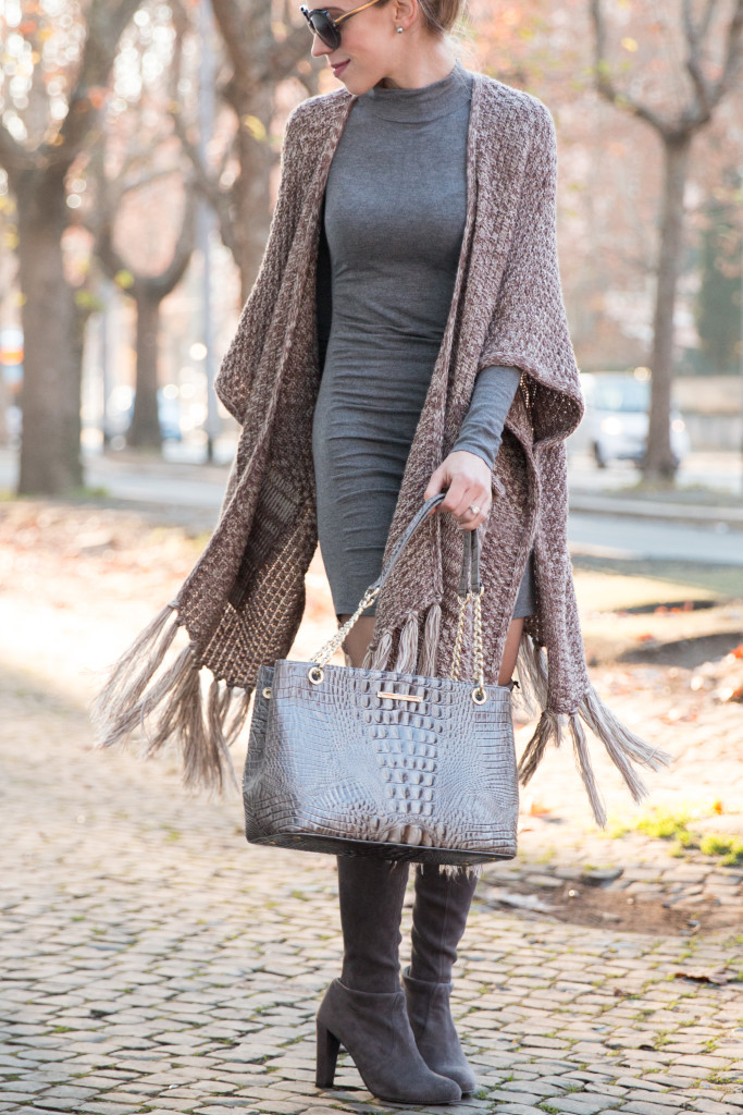 fringe poncho worn over sweater dress, Brahmin Corington tote, Stuart Weitzman Highland boots Londra gray, how to wear poncho with a dress