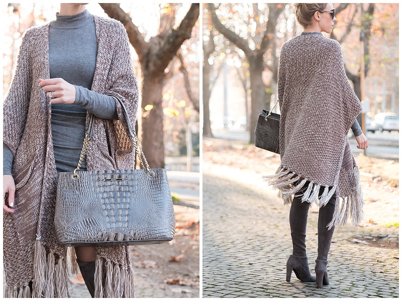 fringe tassel poncho, Brahmin Corington tote falcon melbourne, all gray winter outfit, fringe poncho with sweater dress outfit