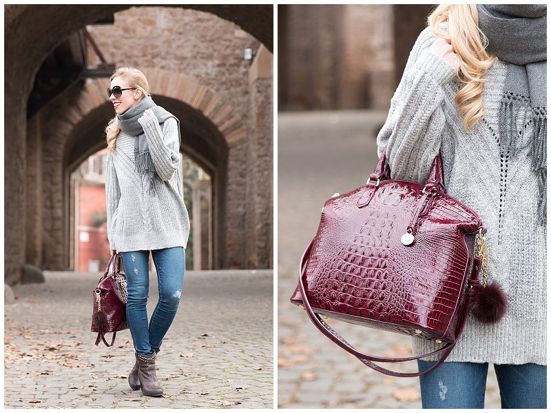 How To Wear A Fur Puff On Handbag Brahmin Large Duxbury Black Cherry Oversized Sweater With Gray Scarf Outfit Cozy And Distressed Denim