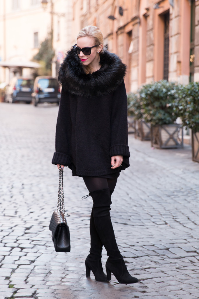 how to wear cape with thigh high boots, Stuart Weitzman Highland over the knee boots with faux fur poncho, Michael Kors black faux fur collar poncho