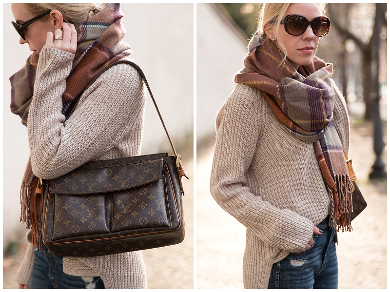 vintage Louis Vuitton monogram shoulder bag, TopShop brown plaid blanket scarf, oversized beige sweater with flare jeans