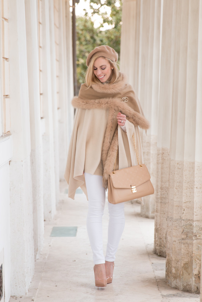 white winter neutrals outfit, Max Mara camel cashmere fox fur wrap, white jeans with camel scarf, Louis Vuitton St Germain Dune beige bag, white and camel outfit