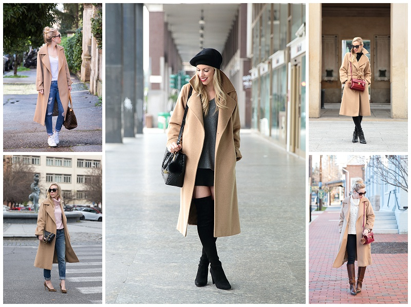 5 ways to wear a classic camel coat, one camel coat worn multiple ways, why a camel coat is most versatile