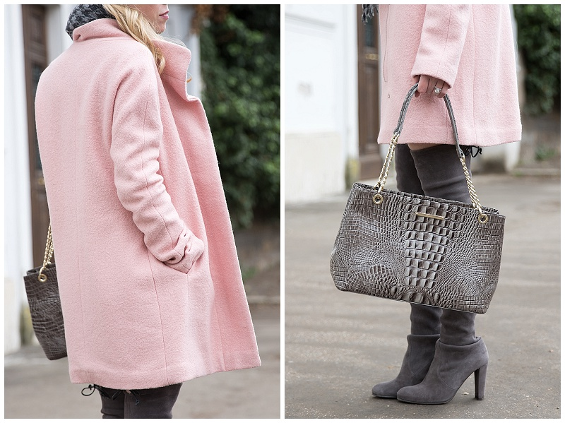Brahmin falcon gray 'Corington' tote, Express pink cocoon coat, Stuart Weitzman gray suede Highland over the knee boots, how to wear a pink coat for winter