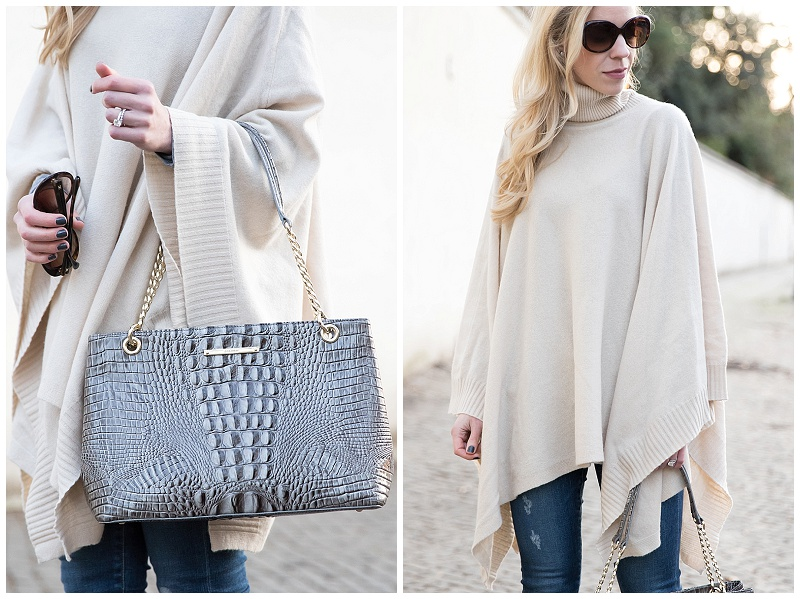 Brahmin falcon gray 'Corington' tote, HOSS beige poncho, beige poncho outfit spring