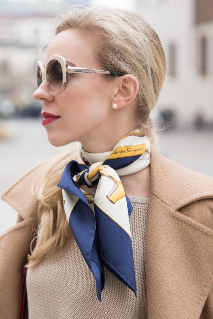 Dior Extase oversized beige sunglasses, Ferragamo silk scarf, how to tie a silk neckerchief, Estee Lauder Irrepressible red lipstick