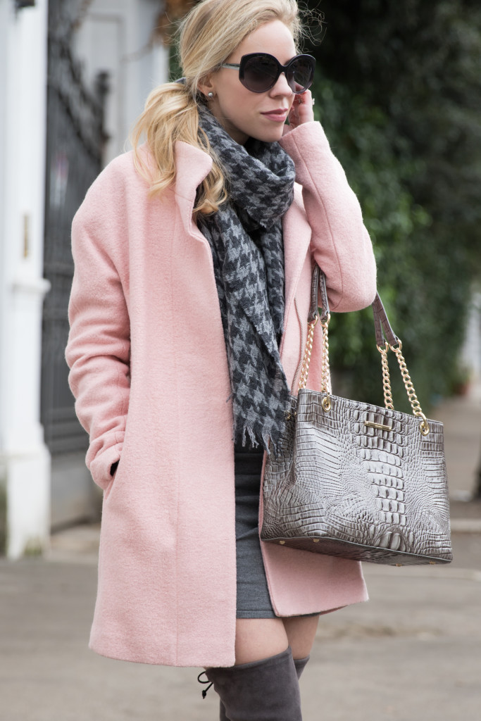 Express pink cocoon coat, pink coat winter outfit, J. Crew gray houndstooth scarf, Brahmin gray 'Corington' tote, pink and gray winter outfit