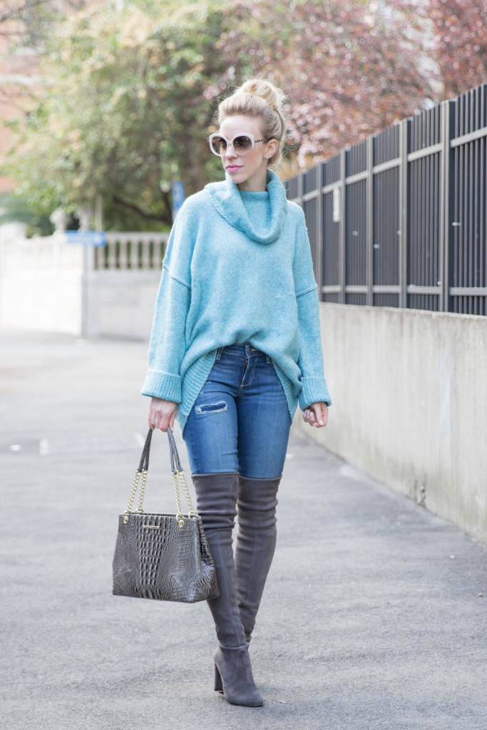 H M turquoise oversized turtleneck sweater 2ad6f7a73