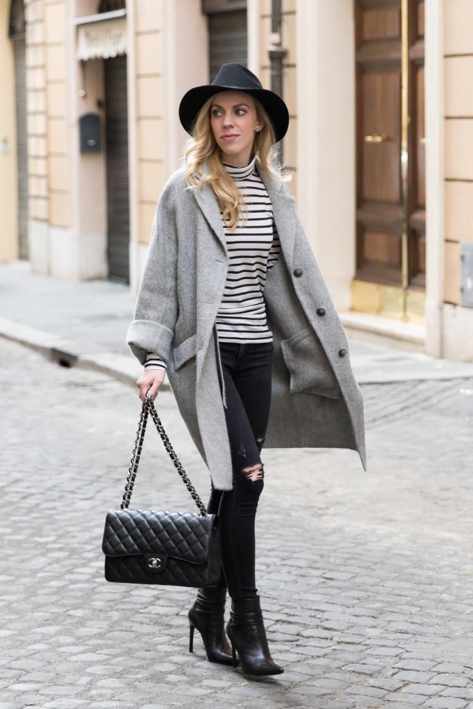 { Stripes u0026 Gelato Oversized coat Striped turtleneck u0026 Black denim } - Meaganu0026#39;s Moda