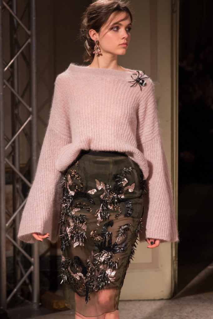 Les Copains bell sleeve sweater with spider brooch, embroidered skirt, Milan Fashion Week AW16