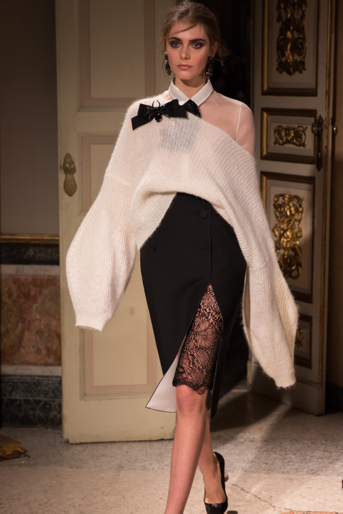Les Copains oversized bell sleeve sweater with lace pencil skirt, Milan Fashion Week runway show autumn winter 16