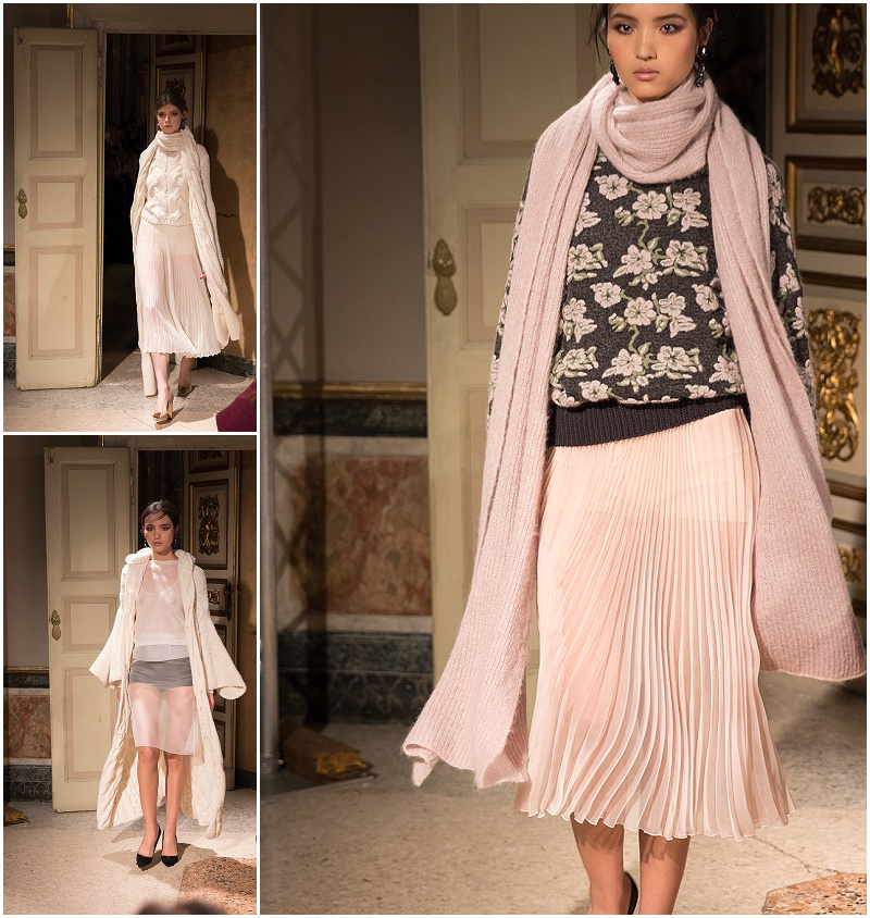 Les Copains pleated skirt and oversized sweater, Milan Fashion Week fall winter 16 collection