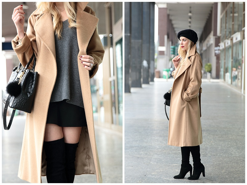 Max Mara Manuela camel coat, classic camel coat with beret outfit, Stuart Weitzman Highland suede thigh high boots with mini skirt, fur puff handbag accessory