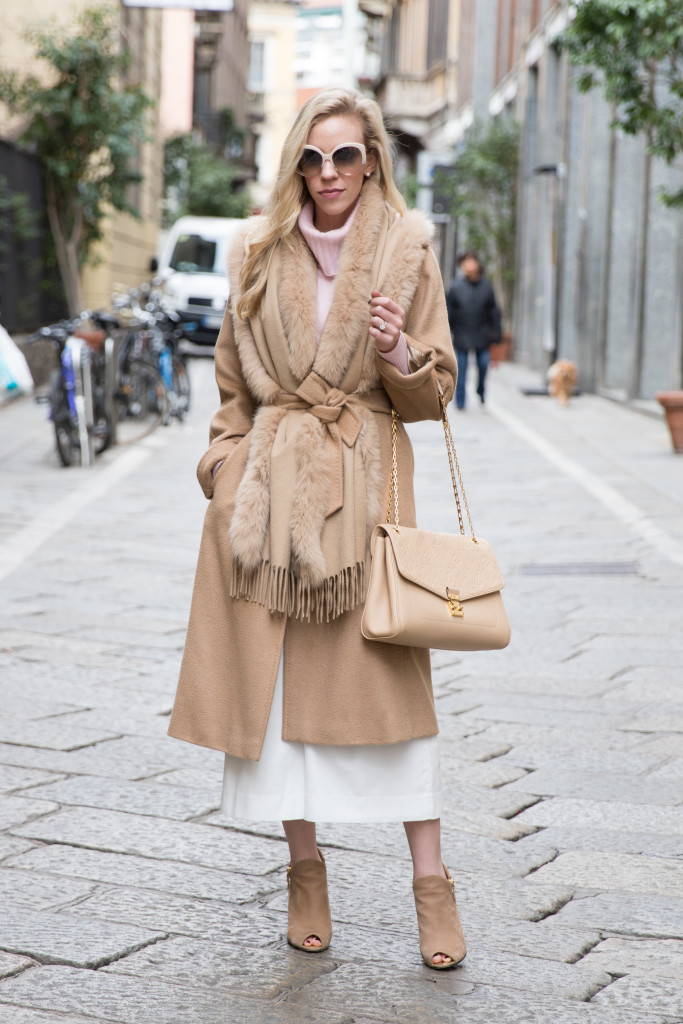 Max Mara Manuela camel coat with fox fur trim wrap, white culottes, tan peep toe booties, Milan Fashion Week street style AW16