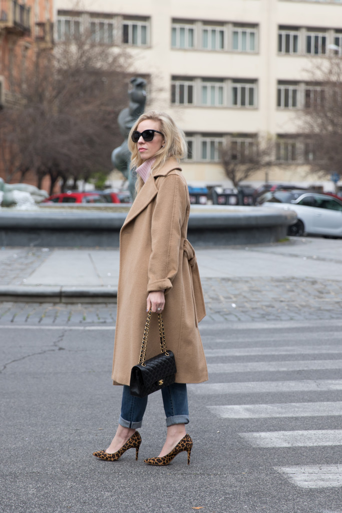 Max Mara camel Manuela coat, camel and blush outfit, camel coat with boyfriend jeans and heels, leopard print heels
