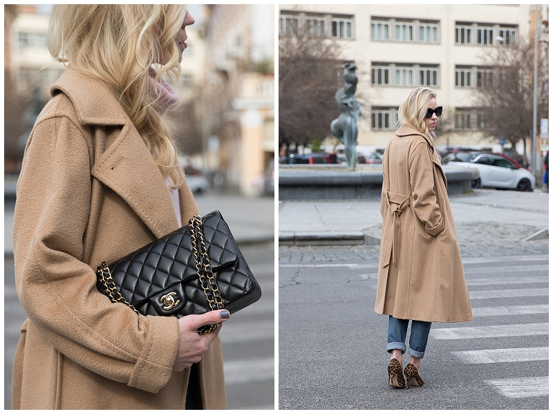 Max Mara camel Manuela wrap coat, Chanel medium classic flap bag black lambskin gold hardware, camel coat with leopard pumps outfit