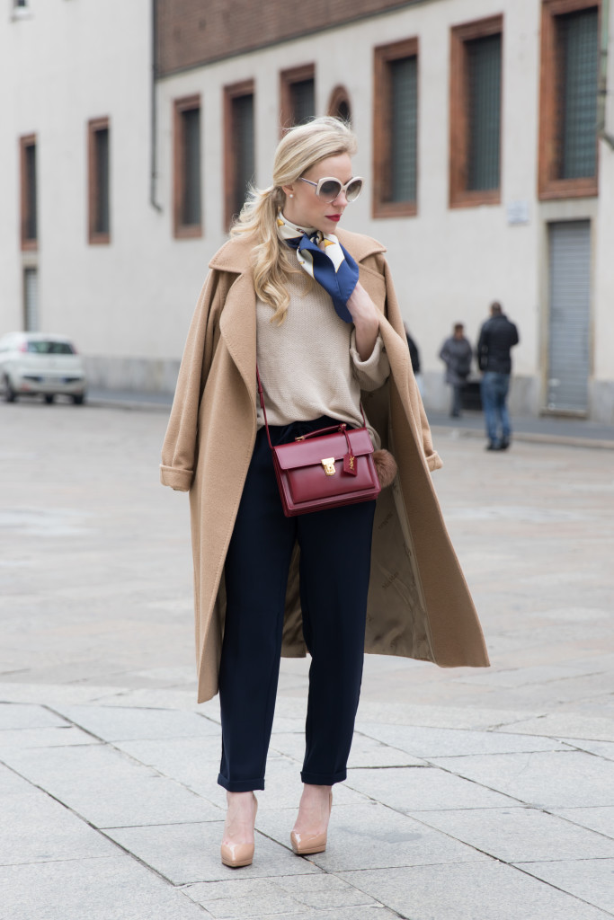 Max Mara camel coat, camel coat with silk neck tie outfit, Saint Laurent red High School satchel, Milan Fashion Week AW16 street style