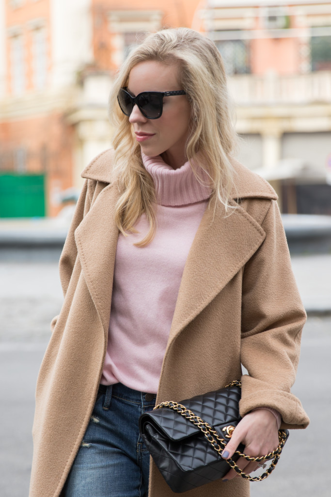 Max Mara camel coat with blush pink turtleneck, Chanel medium classic flap bag black with gold hardware, Chanel leather trim butterfly sunglasses