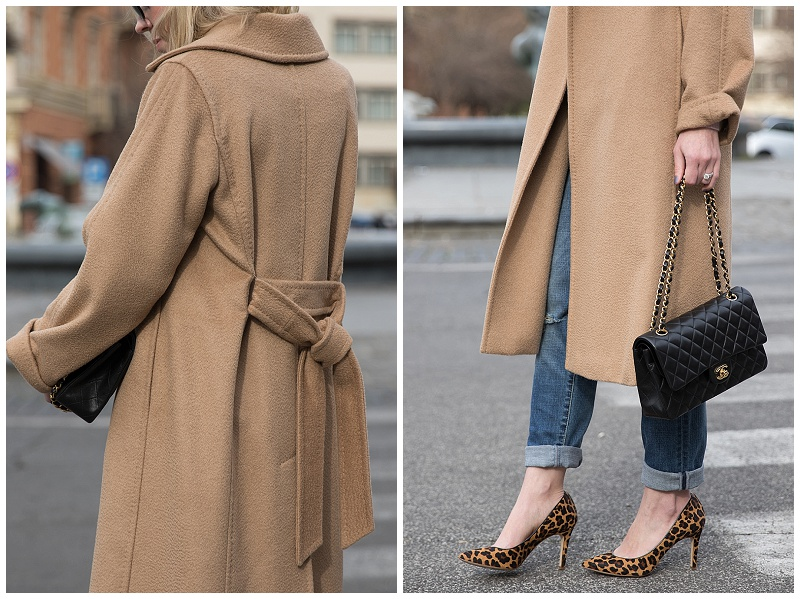 Max Mara camel wrap coat, boyfriend jeans with leopard print pumps and Chanel bag, camel coat and Chanel bag outfit