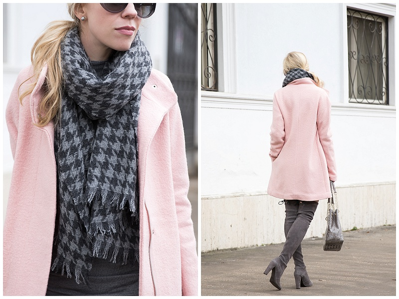 Stila 'Baci' stay all day lipstick, J. Crew gray houndstooth scarf, Express pink cocoon coat, pink and gray winter outfit, pastel pink coat outfit