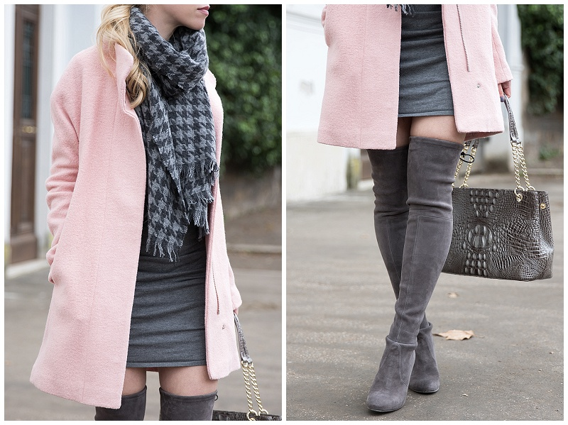 Stuart Weitzman londra gray suede Highland boots, over the knee boots with sweater dress, J. Crew houndstooth scarf, Express pink cocoon coat, pink coat and gray boots winter outfit