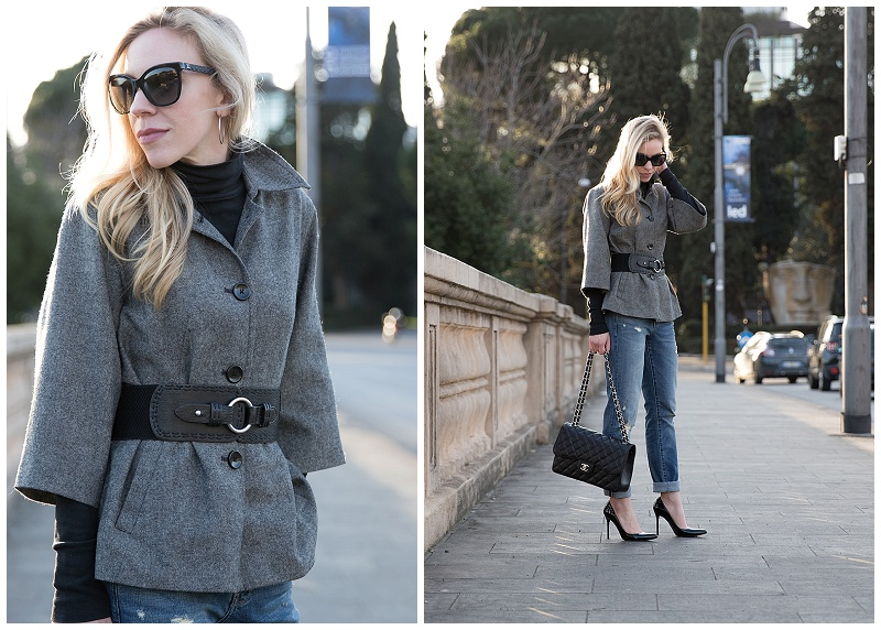 black and white tweed jacket with wide waist belt, Chanel quilted leather butterfly sunglasses, tweed jacket with boyfriend jeans and pointy pumps