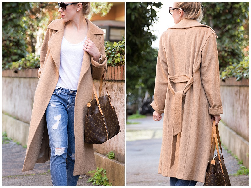 casual camel coat outfit, Max Mara Manuela camel coat outfit with Louis Vuitton tote, how to wear camel coat