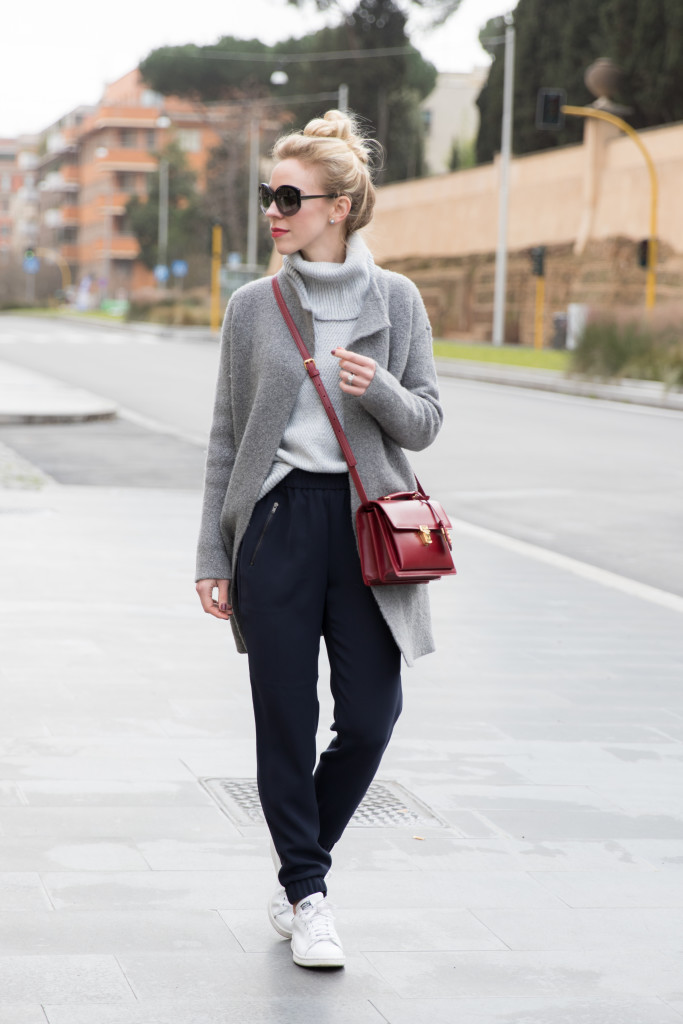 the best attitude 72046 629f5 gray sweater coat with tapered pants outfit, J Crew drapey track pants,  sporty style