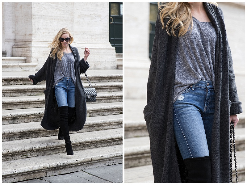 how to wear a duster cardigan, long cardigan with high waist jeans and over the knee boots, maxi cardigan with v neck tee and distressed denim