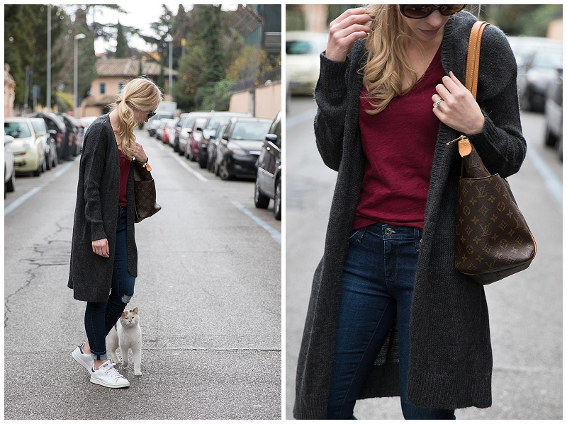 long maxi cardigan with v neck tee, distressed jeans and Stan Smith sneakers, Louis Vuitton totally MM tote, casual outfit with long cardigan and sneakers