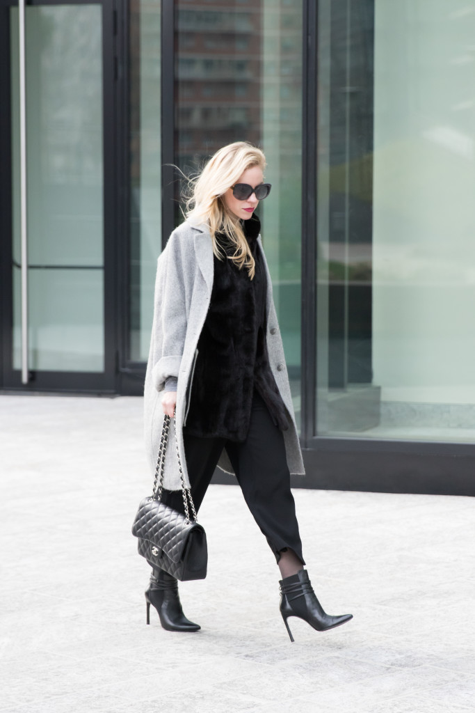 oversized gray coat over fur vest, culottes with ankle boots, how to wear cropped culottes with booties, Milan Fashion Week AW16 street style