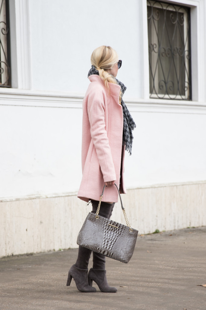 pastel pink coat winter outfit, Brahmin 'Corington' gray tote, pink coat with gray boots, Stuart Weitzman Highland Londra gray over the knee boots