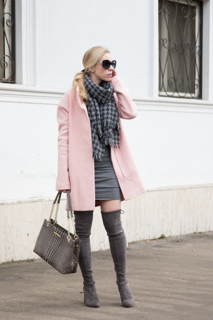 pink cocooon coat with gray dress, winter pastel coat outfit, Stuart Weitzman Highland gray over the knee boots, gray and pink outfit, pink coat outfit