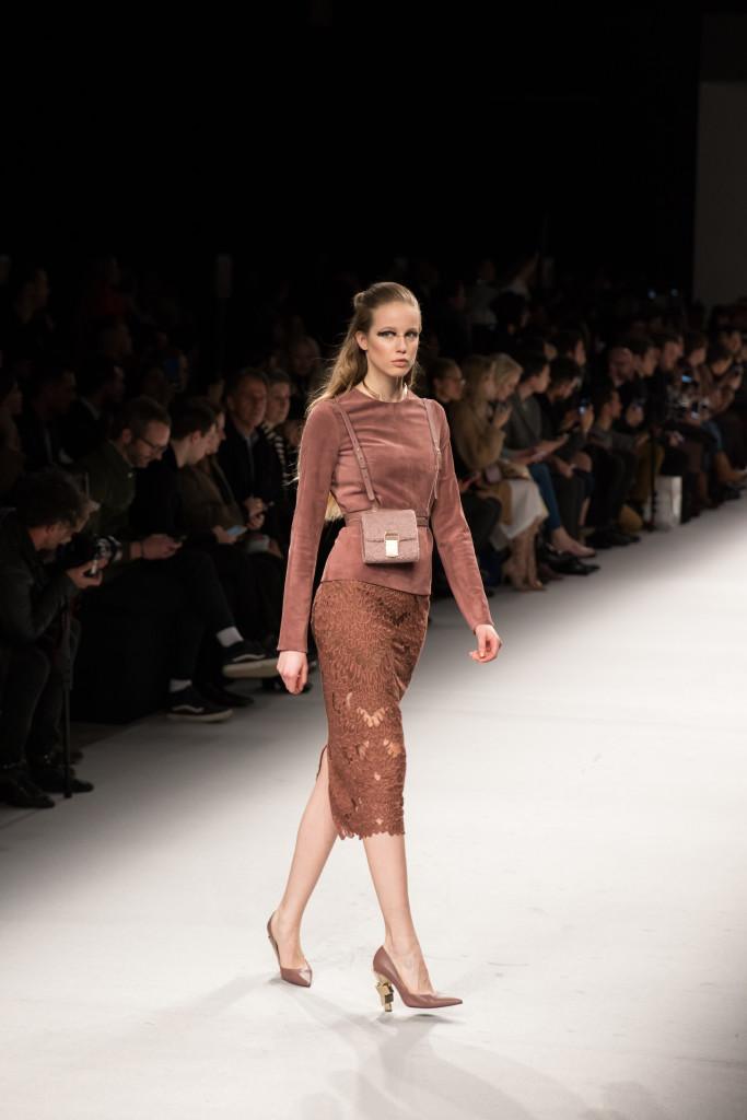 Aigner Munic Milan Fashion Week AW16 runway show lace pencil skirt, velvet top
