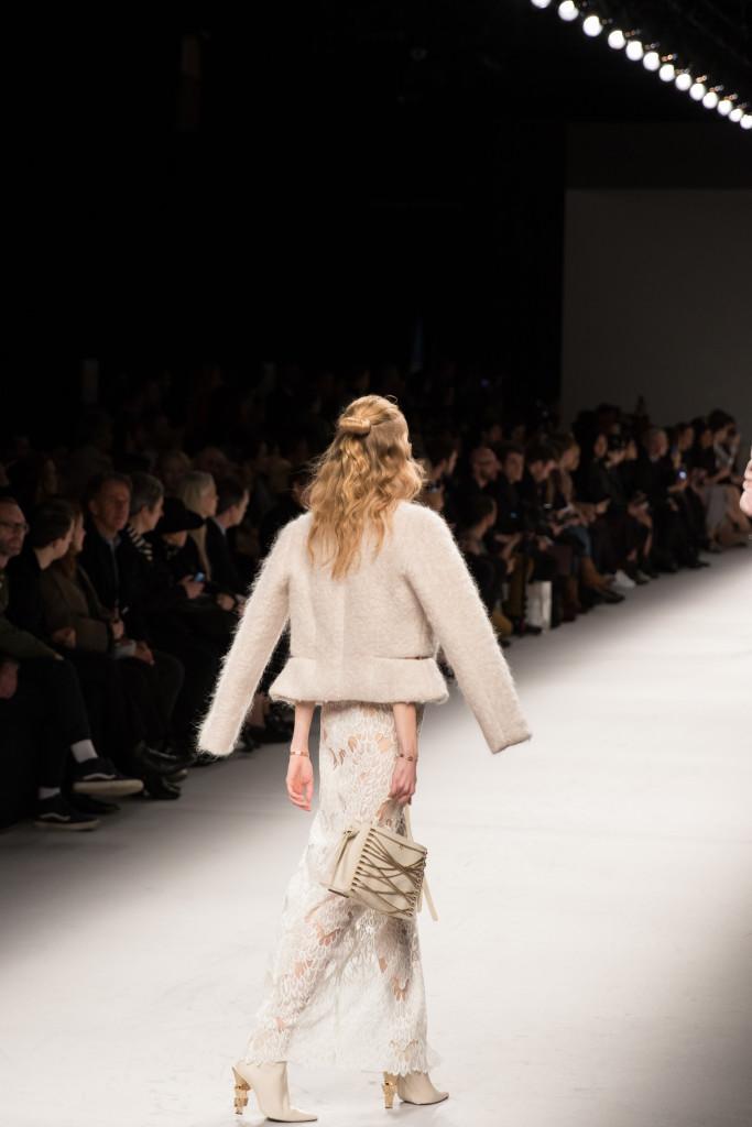 Aigner Munic fur cropped jacket, lace up handbag, Milan Fashion Week AW16 runway show