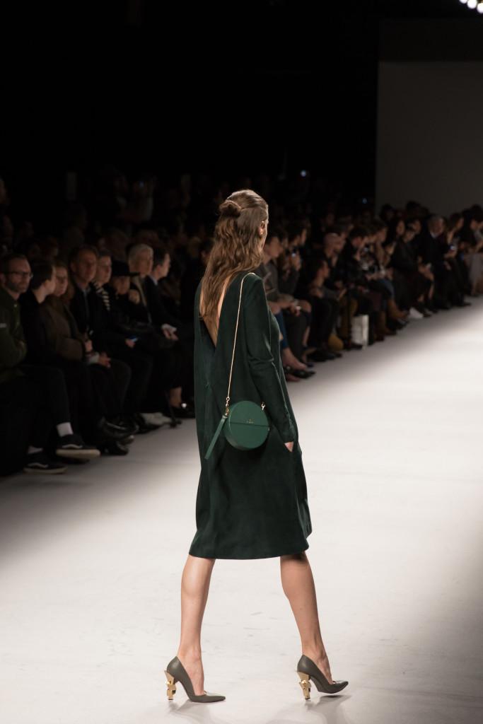 Aigner Munic open back emerald green dress, AW16 runway show Milan Fashion Week