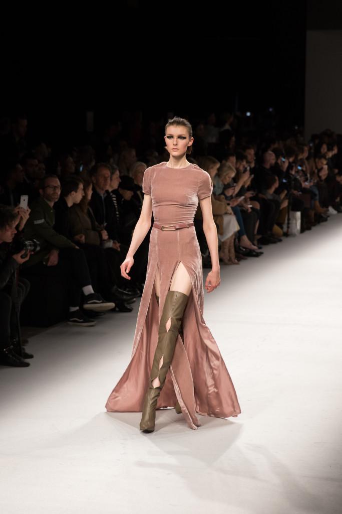 Aigner Munic runway show Milan Fashion Week AW16, velvet dress with thigh high boots