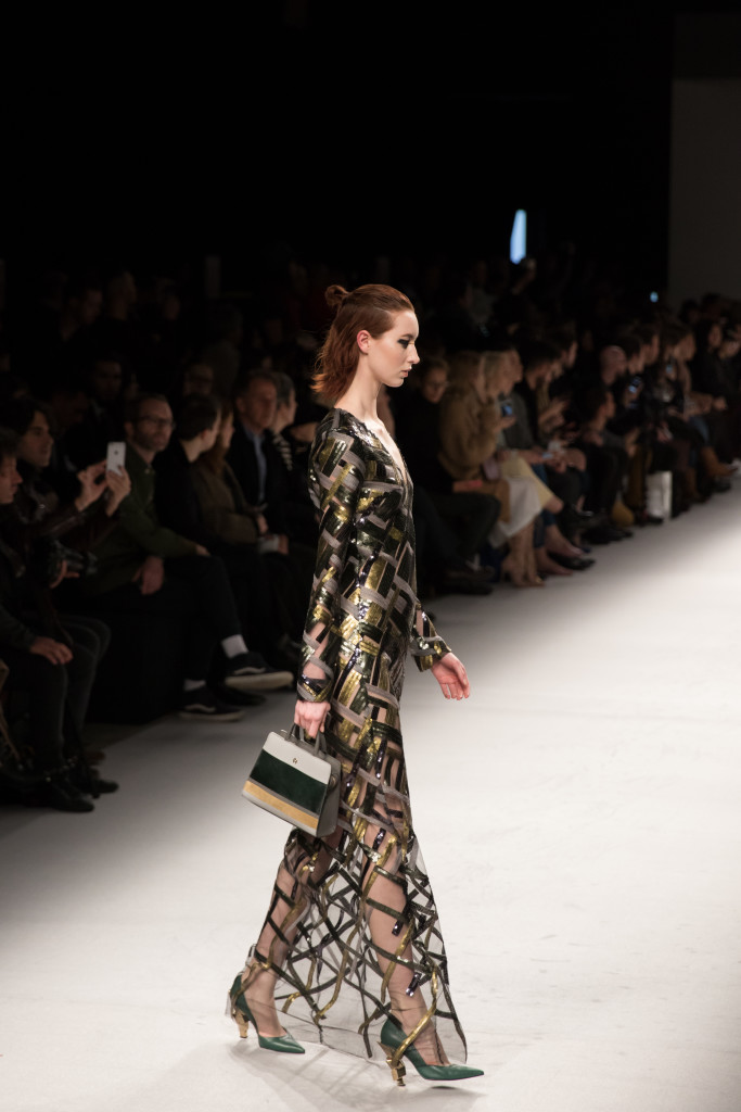 Aigner Munic sheer sequin maxi dress, Milan Fashion Week AW16 runway show
