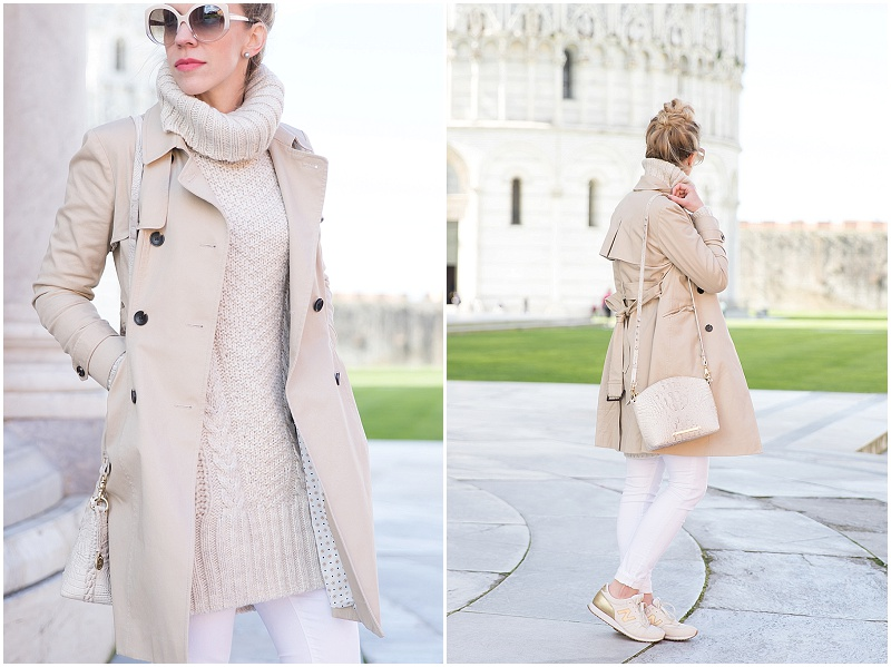Ann Taylor khaki trench coat, beige turtleneck sweater, white denim, all neutral outfit with trench coat, Brahmin mini Duxburg bag paloma gray