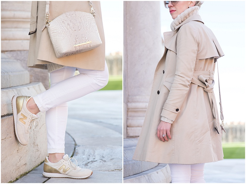 Ann Taylor khaki trench coat, white denim, white and gold New Balance sneakers, how to wear khaki trenchcoat with sweater for spring