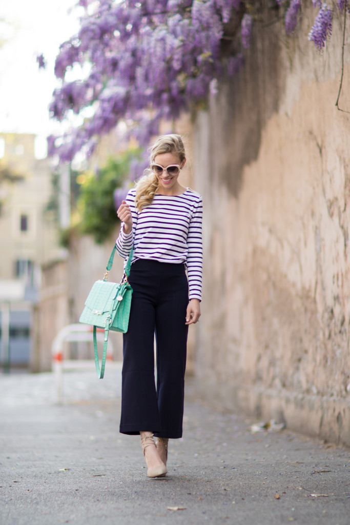 Ann Taylor navy striped tee with high waist navy culottes, J Crew ponte wide leg cropped pants, Brahmin mint handbag