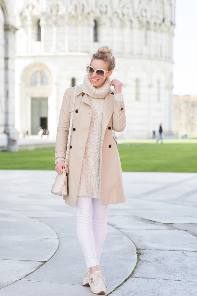 Ann Taylor trench coat, cream turtleneck sweater, trench coat with white denim and beige sweater, head to toe neutrals for spring
