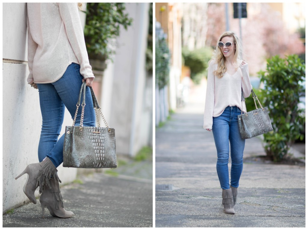 Brahmin Corington tote falcon gray, gray suede fringe booties, pink oversized sweater outfit, pink and gray spring outfit