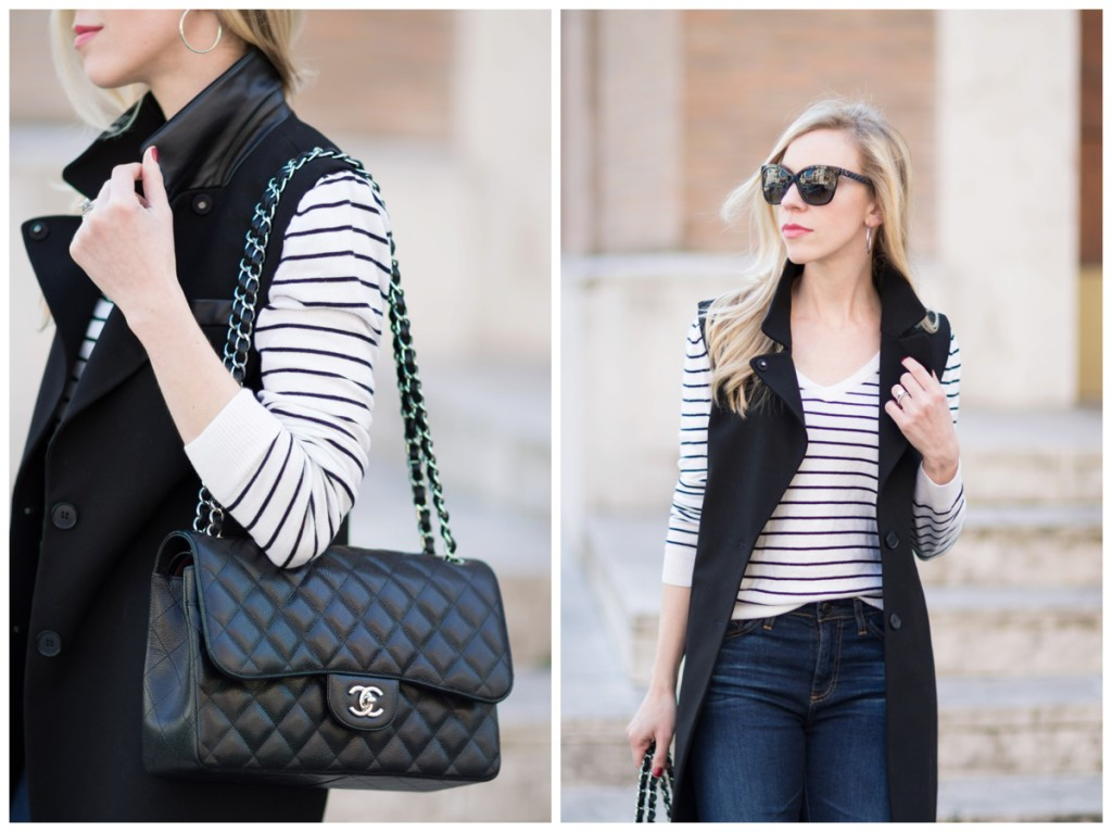 Chanel Jumbo bag black caviar silver hardware, black and white striped sweater with long black vest outfit