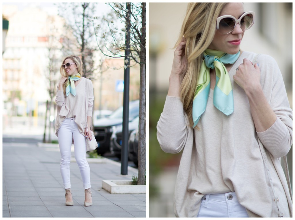 Spring Neutrals Oversized Sweater White Jeans Amp Lace